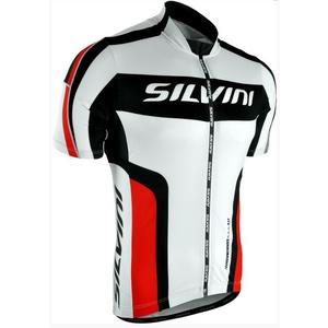 Férfi kerékpáros mez Silvini Lemmy MD603 fehér-piros, Silvini