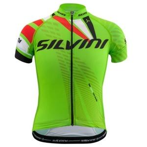 gyermek kerékpáros mez Silvini Team CD1435 zöld-piros, Silvini