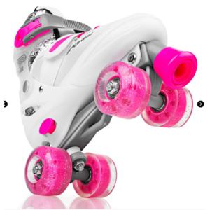 Spokey BUFF Trekking korcsolyát szabályozott, ABEC 5, fehér-rózsaszín, vel. 39-42
