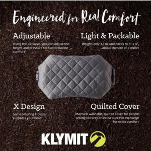 Felfújható párna Klymit Luxe Pillow szürke, Klymit