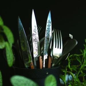 Deejo készlet 6 stealpvácj kés, fényes felületi, olíva faipari, design 'virágdovod' 2AB010, Deejo