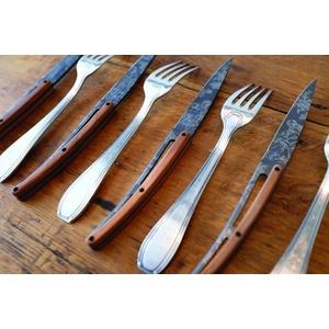 Deejo készlet 6 steakových kés, titán felületi blades, olíva faipari, design 'Toile de Jouy' 2FB011, Deejo