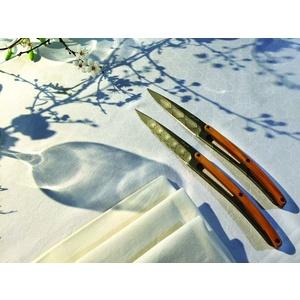 Deejo készlet 6 steakových kés, titán felületi blades, olíva faipari, design 'Art deco' 2FB012, Deejo
