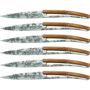 Deejo készlet 6 stealpvácj kés, fényes felületi, olíva faipari, design 'Toile de Jouy' 2AB011, Deejo