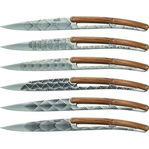 Deejo készlet 6 stealpvácj kés, fényes felületi, olíva faipari, design 'Art deco' 2AB012, Deejo