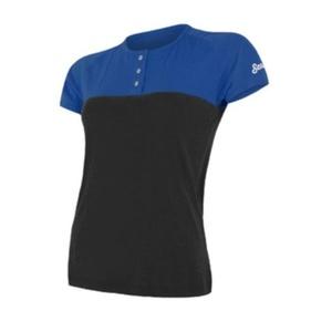Női póló Sensor MERINO AIR PT kr.rukáv  gombok kék / fekete 18100010, Sensor
